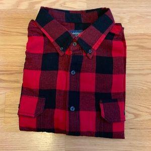 Men's Red Plaid Buffalo Check Flannel Shirt